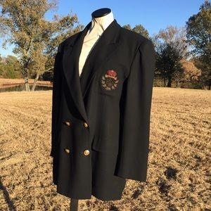 Ralph Lauren Black Wool Crown Crest Blazer Sz 16